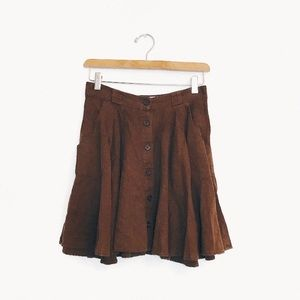 Boutique Forever21   Brown Flowy Button Down Skirt
